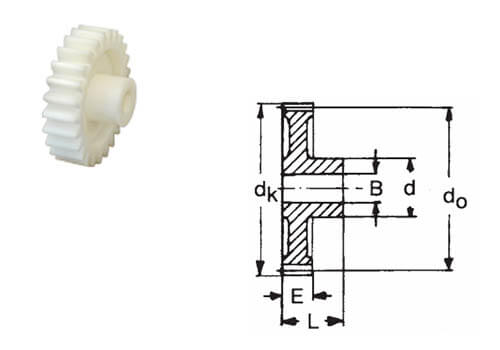 Фото - шестеренка из материала текрон и чертеж